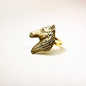 Horse Head Ring, Antique Bronze, 100% Handmade 🌸